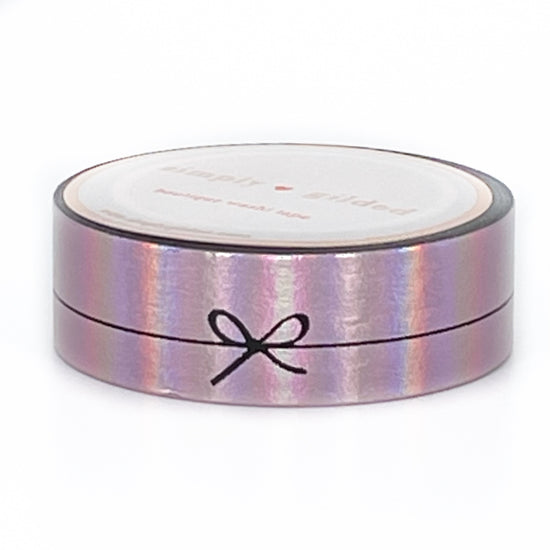 WASHI 15mm - Aurora Pink SIMPLE BOW LINE + BLACK print