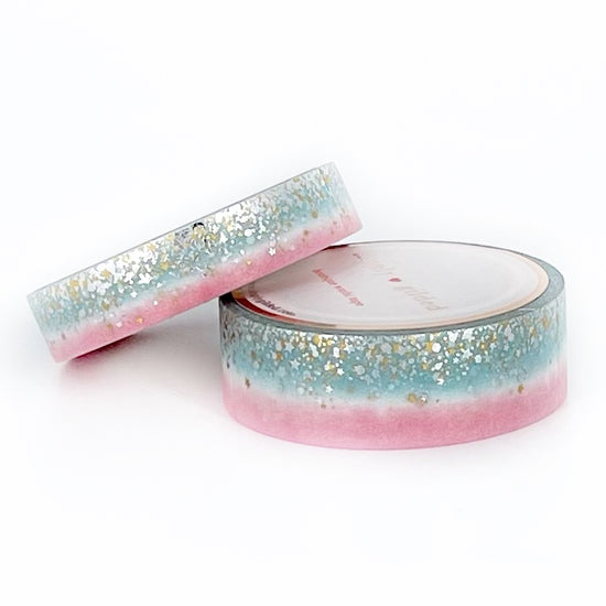 WASHI 15/10mm set - Strawberry Mint Cream Ombre STARDUST + holo gold/silver