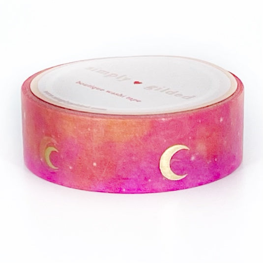 WASHI 15mm - Tropical Heat CRESCENT Moon Sky + Light Gold