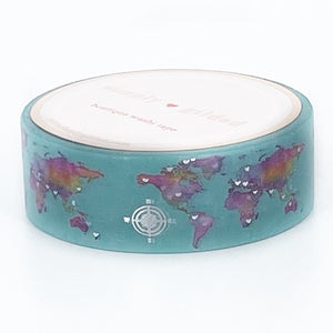 WASHI 15mm - Spearmint MAP + Silver