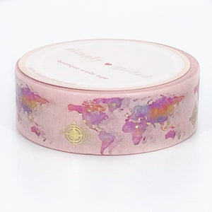 WASHI 15mm - Peachy Pink MAP + Light Gold