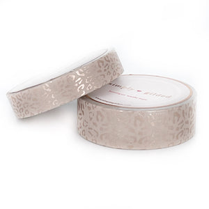 WASHI 15/10mm set - Silky Leopard ROSY CHEEKS + rose gold silk foil