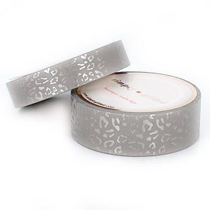 WASHI 15/10mm set - Silky Leopard CALM CLAY + silver silk foil
