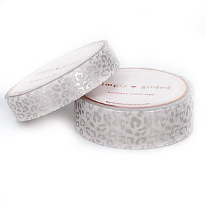WASHI 15/10mm set - Silky Leopard WHISPER WHEAT + silver silk foil