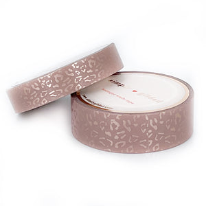 WASHI 15/10mm set - Silky Leopard VINTAGE ROSEWOOD + rose gold silk foil