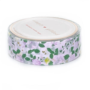 WASHI 15mm - Purple Royalty Fairytale Floral + light gold