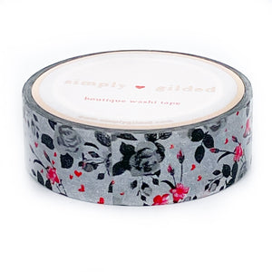 WASHI 15mm - Queen of Hearts Fairytale Floral + red foil