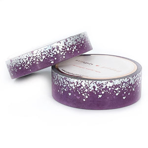 WASHI 15/10mm set - Purple Heart Stardust + silver sparkle holographic/silver holographic foil