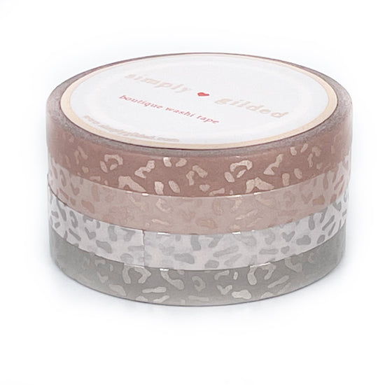 WASHI 6mm set of 4 - Perforated Silky Blushbaby LEOPARD + rose gold silk/silver silk foil (Restock)