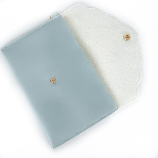 POUCH - Day 8/Mint Blue Vegan Leather Scallop Edge Pouch (12 days of simply gilded)