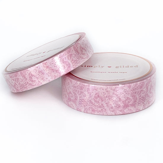 WASHI 15/10mm set - Sweet PINK with White Spirit LACE + iridescent overlay