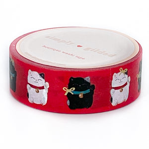 WASHI 15mm - Lucky Cats RED + light gold foil