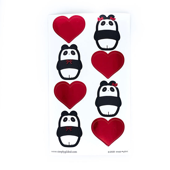 SEALS/LABELS - Panda and Hearts + red foil