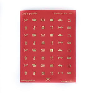 STICKERS - RED Heart Icons - Basics + light gold foil