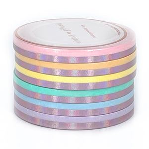 5mm WASHI - Pastel Color Block + aurora pink foil (Set of 6)