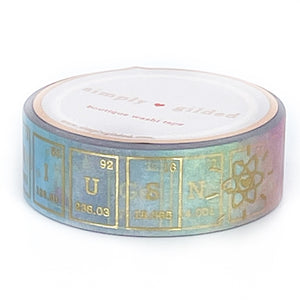 WASHI 15mm - RAINBOW I love Chemistry + light gold foil