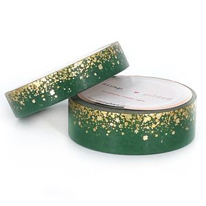 WASHI 15/10mm - St. Patrick's Day Stardust + gold/gold holographic foil