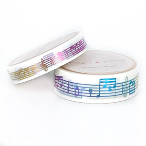 WASHI 15/10mm set - White MUSIC NOTES + rainbow foil