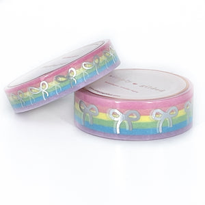 WASHI 15/10mm BOW set - Pastel RAINBOW STRIPES + silver foil
