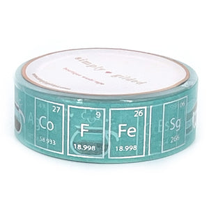 WASHI 15mm - Robin's Egg Blue COFFEE CHEMISTRY + silver foil