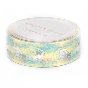 WASHI 15mm - YELLOW Spring Bunny + champagne satin foil