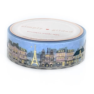 WASHI 15mm - Paris in Spring Cityscape (blue) + light gold (Paris in Spring)