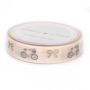 WASHI 10mm - Bicycles & Bows + light gold (Paris in Spring)