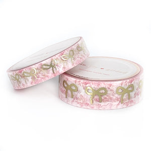 WASHI 15/10mm - Rose Chinoiserie + light gold BOW (Paris in Spring)