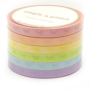5mm WASHI set of 6 - Sorbet Collection HORIZONTAL BOW + opalescent overlay