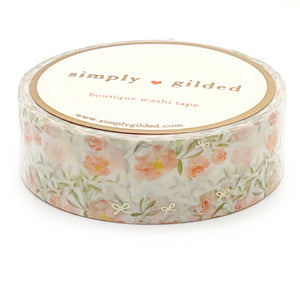 WASHI 15mm - PEACH Floral Aviary + champagne satin foil