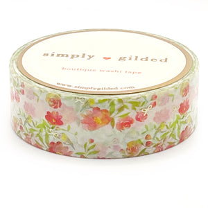 WASHI 15mm - BRIGHT Floral Aviary + champagne satin foil