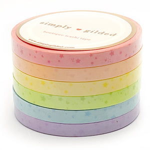5mm WASHI set of 6 - Sorbet Collection SHOOTING STARS + opalescent overlay