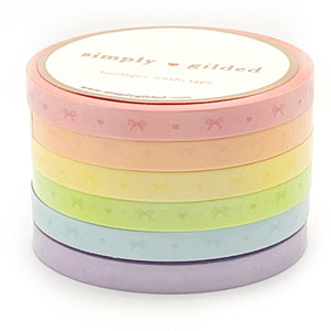 5mm WASHI set of 6 - Sorbet Collection HEART & BOW + opalescent overlay