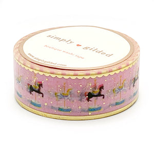 WASHI 20mm - Carousel Horse PINK + light gold foil