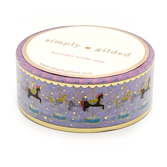 WASHI 20mm - Carousel Horse  PURPLE + light gold foil