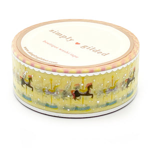 WASHI 20mm - Carousel Horse YELLOW + silver foil