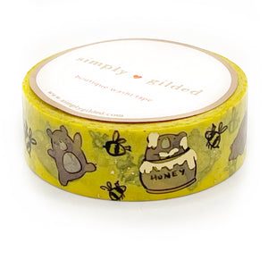 WASHI 15mm - JASPER Loves HONEY + light gold foil (yellow)