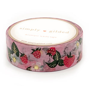 WASHI 15mm - PINK Strawberry + light gold foil (pink)