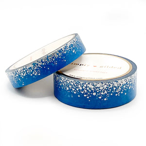 WASHI 15/10mm - Skyberry BLUE Stardust + silver/silver sparkler holographic (blue)