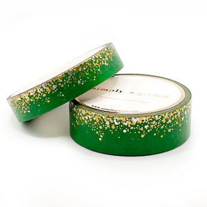WASHI 15/10mm - LIME Time Stardust + gold holographic/silver sparkler holographic (green)