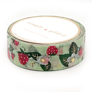 WASHI 15mm - Spring GREEN Strawberry + light gold foil (green)