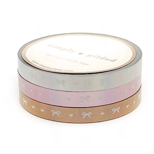 WASHI 6mm set of 3 - Perforated HOLOGRAPHIC Heart & Bow Trio (silver, aurora pink, rose gold)