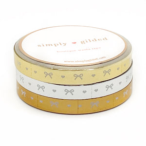 WASHI 6mm set of 3 - Perforated CLASSIC METALLIC Heart & Bow (gold, silver, rose gold)
