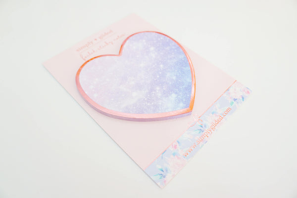 STICKY NOTES - GALAXY HEART + coppery pink rose gold foil (Mystery Monday)