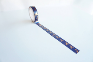 WASHI TAPE 10mm - Navy + rose gold foil bow (Mystery Monday)