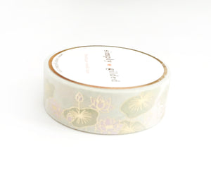 WASHI TAPE 15mm - SERENE LOTUS LOVE + light gold foil
