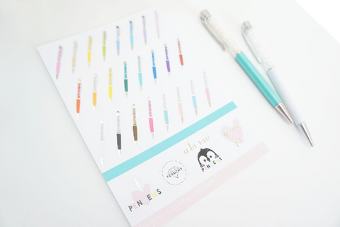 Signature Pengems luxe sticker sheet with silver foil