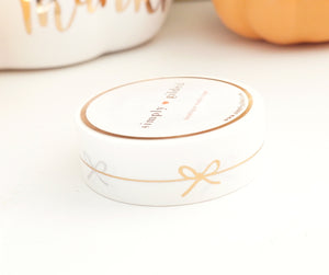 WASHI TAPE 15mm - WHITE Simple Line BOW + ROSE gold foil (October 2019 Release)