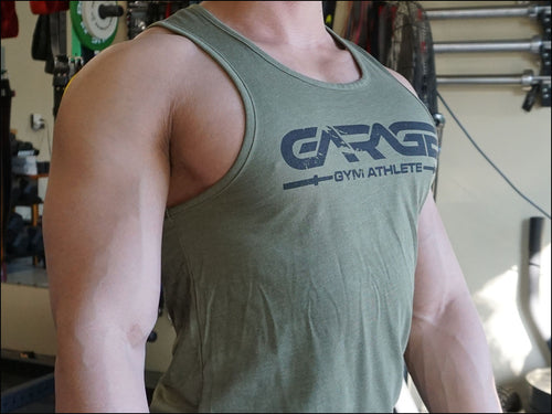 'Garage Gym Athlete' CVC Tank - Olive Drab