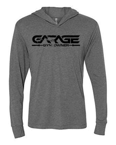 Garage gym owner tri blend lightweight hoodie u garage gyms llc